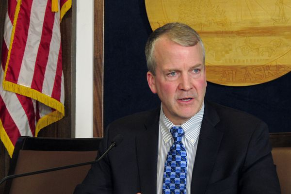 FILE - In this Feb. 21, 2019 file photo, U.S. Sen. Dan Sullivan speaks to reporters after giving his annual address to a joint session of the Alaska Legislature in Juneau, Alaska. The U.S. Coast Guard is expected to take possession of a new heavy icebreaker within five years and Alaska's junior U.S. senator would like to see it spend time in U.S. waters. Sullivan said Antarctic policy likely will shift the future icebreaker away from the Arctic missions it should be used for, the Alaska Journal of Commerce reported. (AP Photo/Becky Bohrer, File)