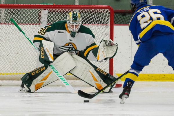 UAF's Tyler Cline tries to score against UAA goaltender Kristian Stead on Saturday, Oct. 26, 2019 at the Seawolf Sports Complex. (Loren Holmes / ADN)