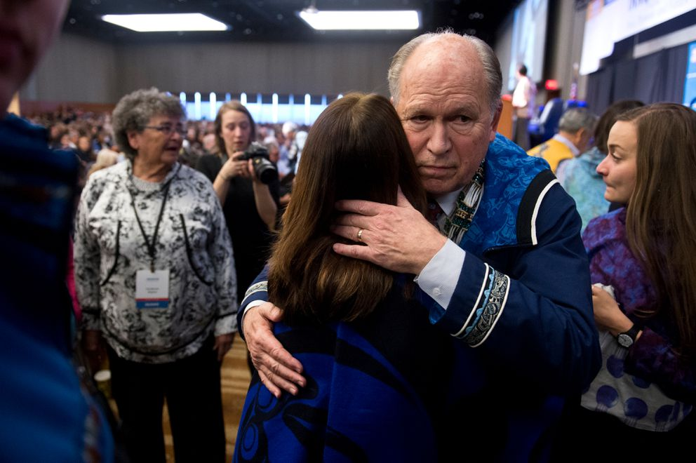 Gov. Bill Walker after announcing he's suspending his campaign forre election at the Alaska Federation of Natives annual convention on October 19, 2018. (Marc Lester / ADN)