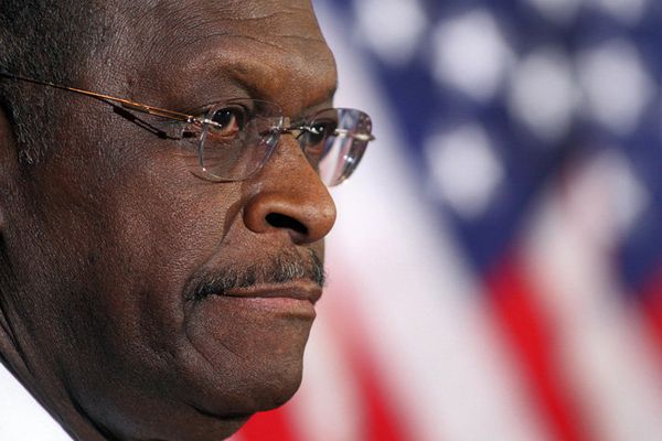 Republican presidential candidate Herman Cain addresses the media Tuesday, Nov. 8, 2011, in Scottsdale, Ariz. Cain said Tuesday that he would not drop his bid for the Republicans' presidential nomination in the face of decade-old allegations of inappropriate sexual behavior. (AP Photo/Darryl Webb)