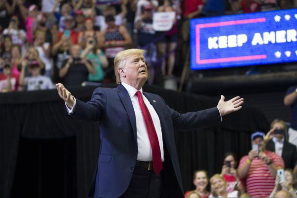President Donald Trump arrives to speak at a campaign rally Thursday, Aug. 1, 2019, in Cincinnati. (AP Photo/Alex Brandon)