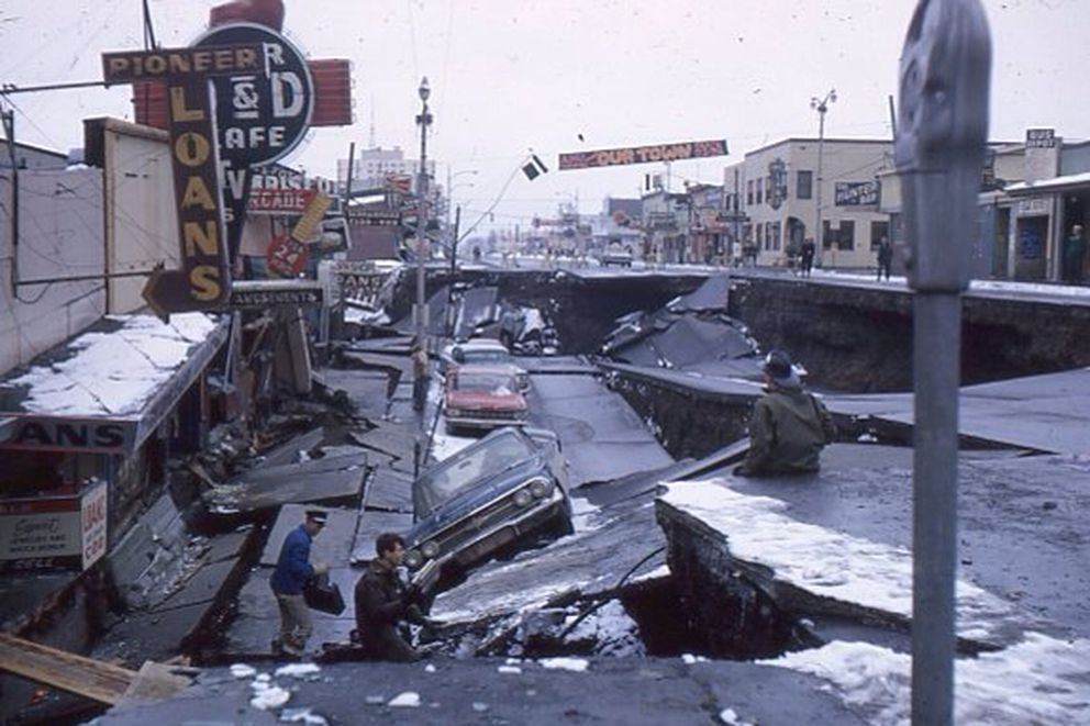 The 1964 earthquake heavily damaged Fourth Avenue in downtown Anchorage. (Harvey Chafitz)