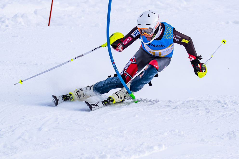 Finnigan Donley clears a gate during a race this winter at Alyeska. (Photo by Bob Eastaugh)