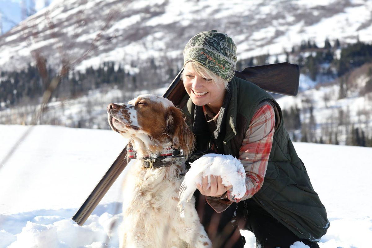 Hugo was adorably difficult during a photo shoot after a ptarmigan hunt in early March 2019. (Photo by Steve Meyer)