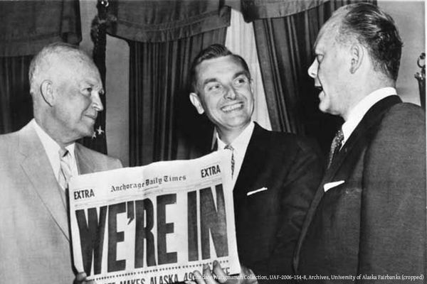 OPINION: If Alaska maximizes the returns on our commonly owned resources, and manages them well, the state has a great future. Pictured, left to right: Pres. Dwight Eisenhower, Alaska Territorial Gov. Mike Stepovich, and Secretary of the Interior Fred Seaton, gathered around an Anchorage Times that announces Alaska's admission to the union. July 1, 1958.
