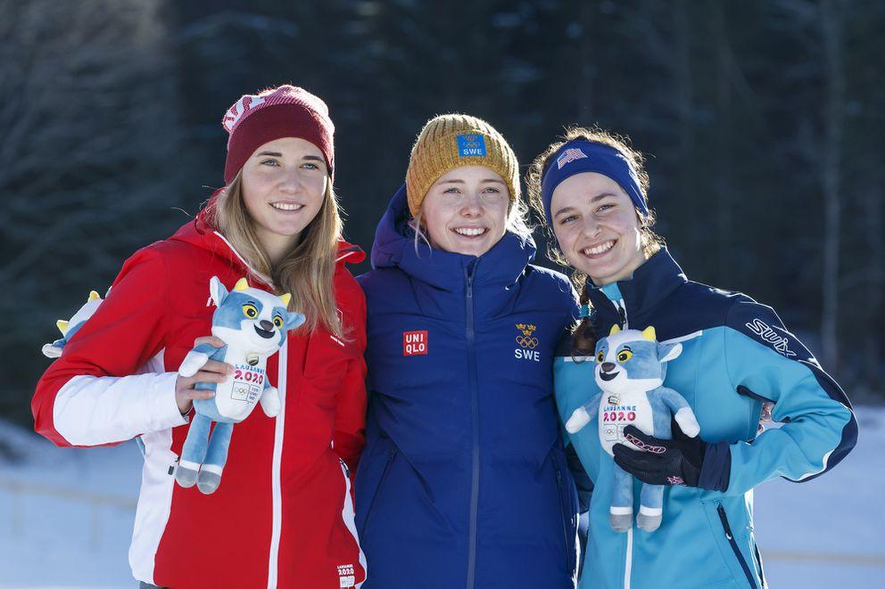 From left, silver medalist Siri Wigger of Switzerland, gold medalist Maerta Rosenberg of Sweden and bronze medalist Kendall Kramer of Fairbanks. (Salvatore Di Nolfi/Keystone via AP)