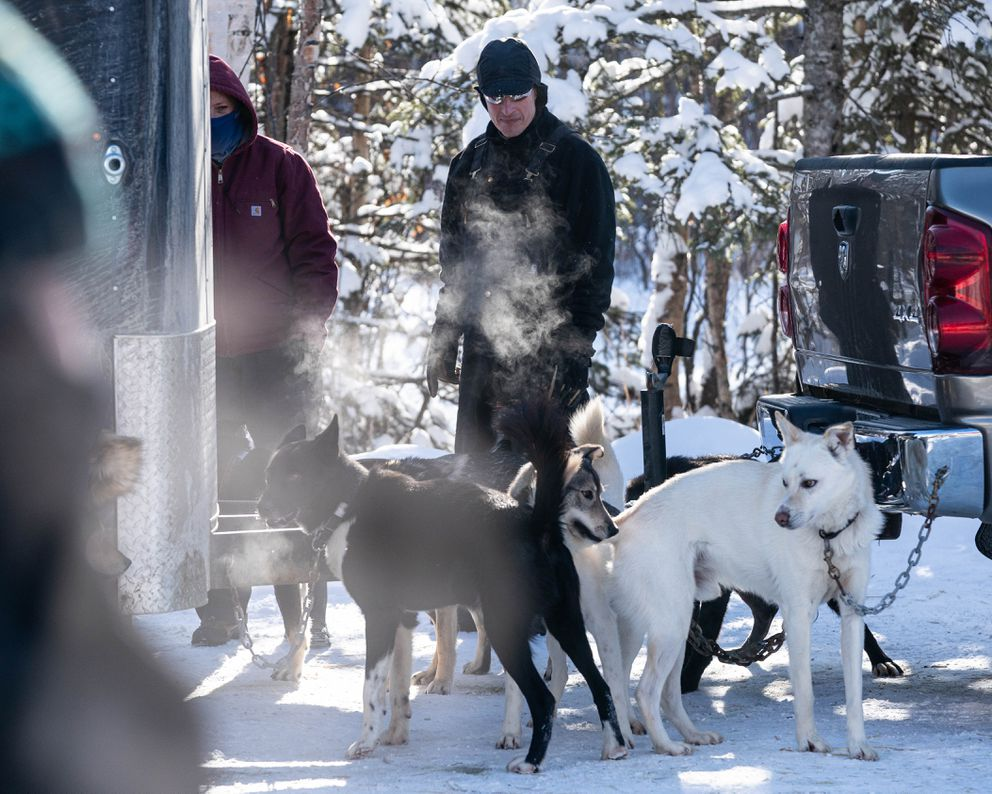 Wasilla musher Tom Knolmayer stands with his dogs during the Iditarod vet checks Wednesday, March 4, 2020 in Knik. (Loren Holmes / ADN)