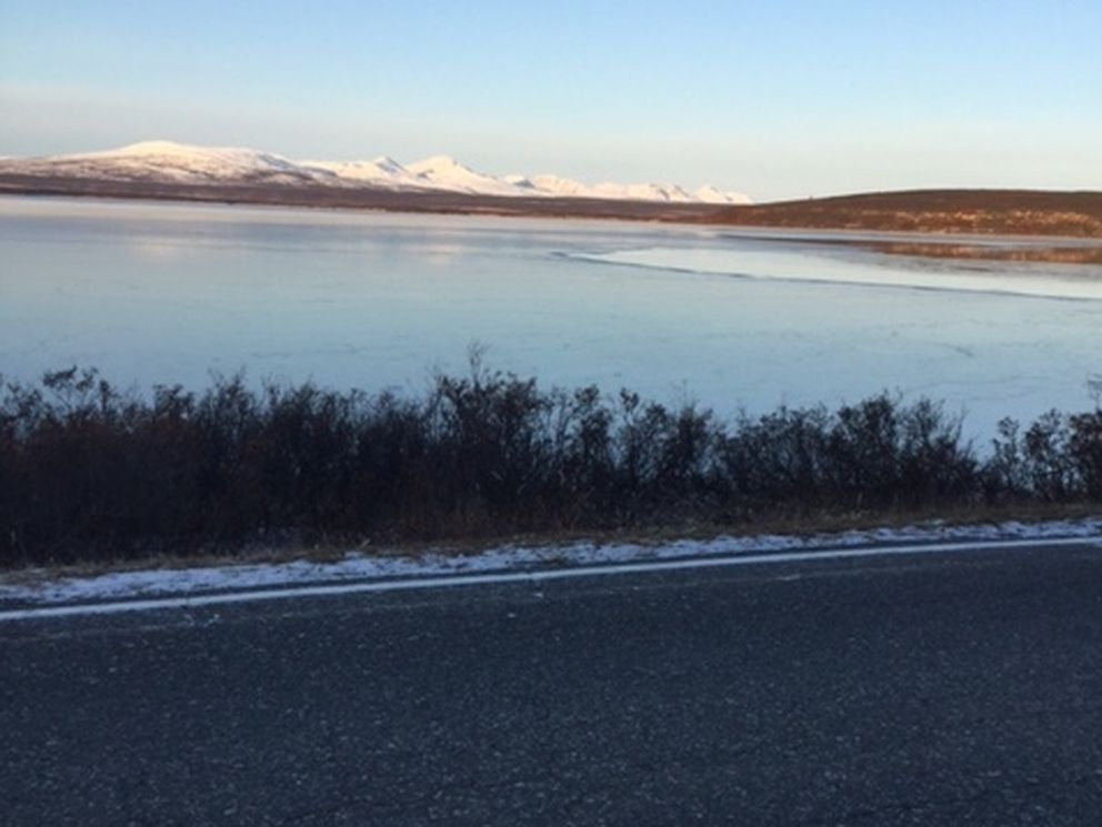 Summit Lake is beginning to freeze on the south end from as viewed near Mile 191 on the Richardson Highway. (Photo by John Schandelmeier)