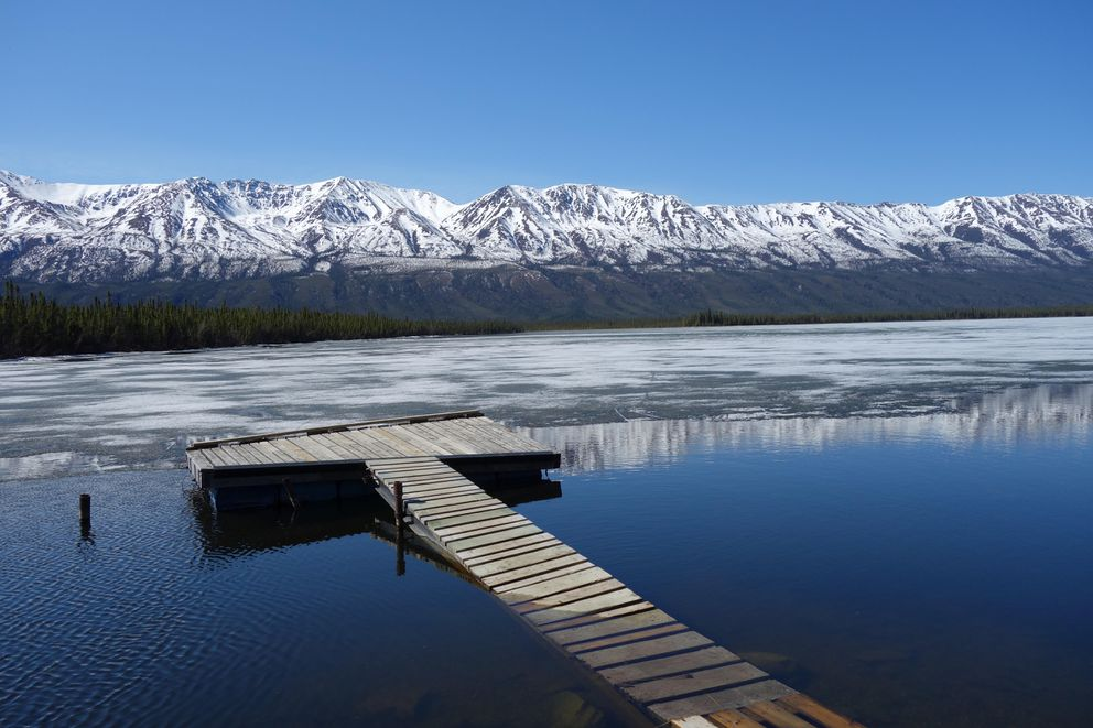 """The lakes still have plenty of ice, like at this campground in Canada, the """"Pickhandle Campground"""" on the Haines Highway. (Photo by Scott McMurren)"""