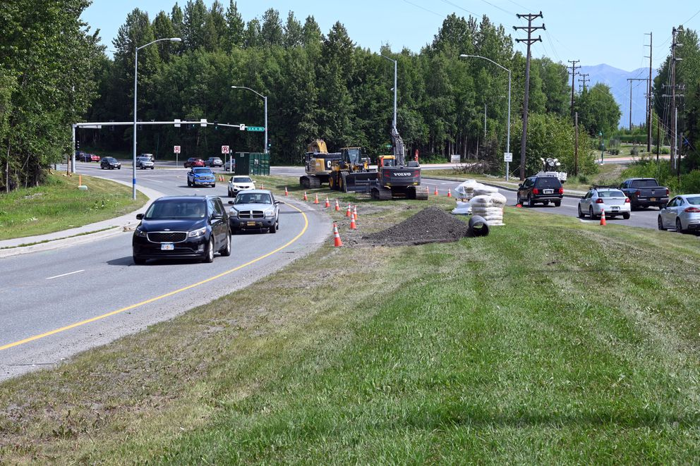 Northern Lights Boulevard will be closed for 30 days, beginning Sunday, to replace the culverts carrying Chester Creek under the roadway. Photographed Friday. (Anne Raup / ADN)