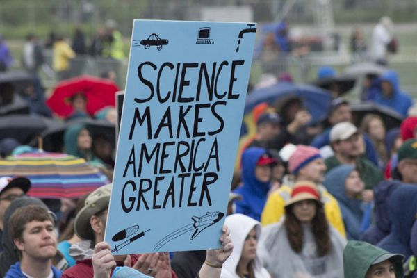 A sign at the March for Science on the National Mall in Washington on Saturday. Washington Post photo by Jia Naqvi.