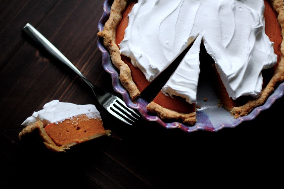 Sweet potato pie with marshmallow meringue. (Maya Wilson/Alaska From Scratch)