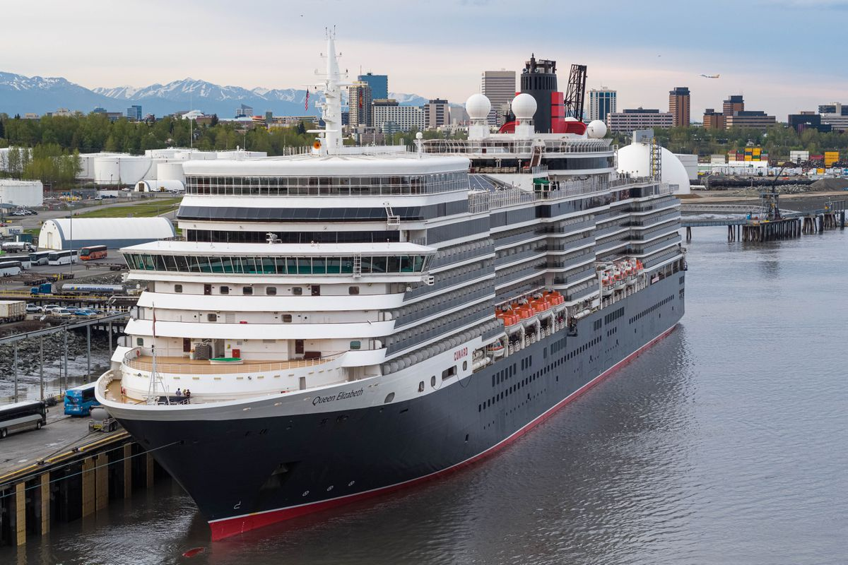 The MS Queen Elizabeth is docked at the Port of Alaska on Thursday, May 16, 2019. (Loren Holmes / ADN)