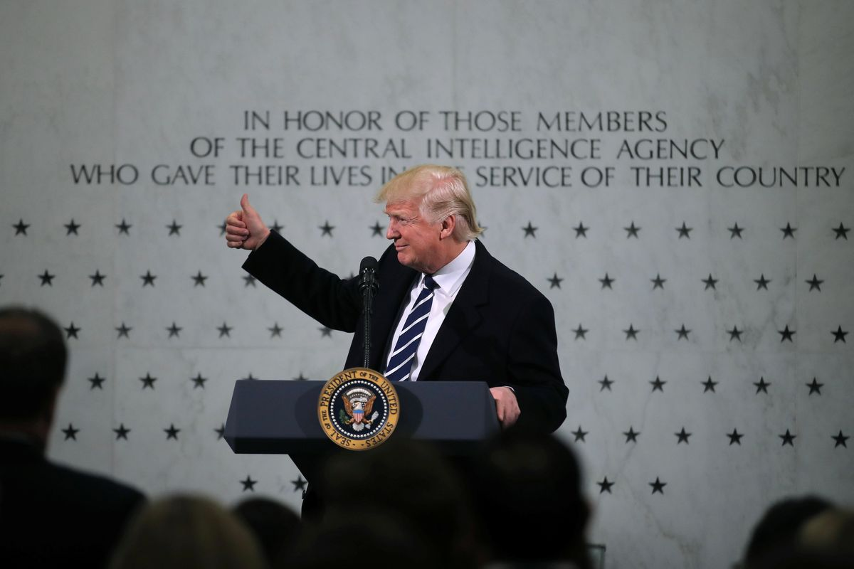 President Donald Trump delivers remarks during a visit to the Central Intelligence Agency in Langley, Va., on Saturday. REUTERS/Carlos Barria