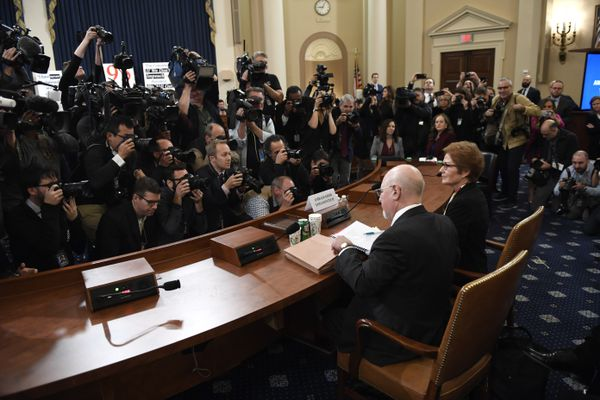 Former U.S. Ambassador to Ukraine Marie Yovanovitch, right, arrives to testify before the House Intelligence Committee on Capitol Hill in Washington, Friday, Nov. 15, 2019, in the second public impeachment hearing of President Donald Trump's efforts to tie U.S. aid for Ukraine to investigations of his political opponents. At left is attorney Lawrence Robbins. (AP Photo/Susan Walsh)