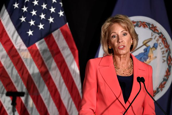 Education Secretary Betsy DeVos makes remarks during a major policy address on Title IX enforcement, which in college covers sexual harassment, rape and assault, at George Mason University, in Arlington, Virginia, September 7, 2017. (Mike Theiler / Reuters file)