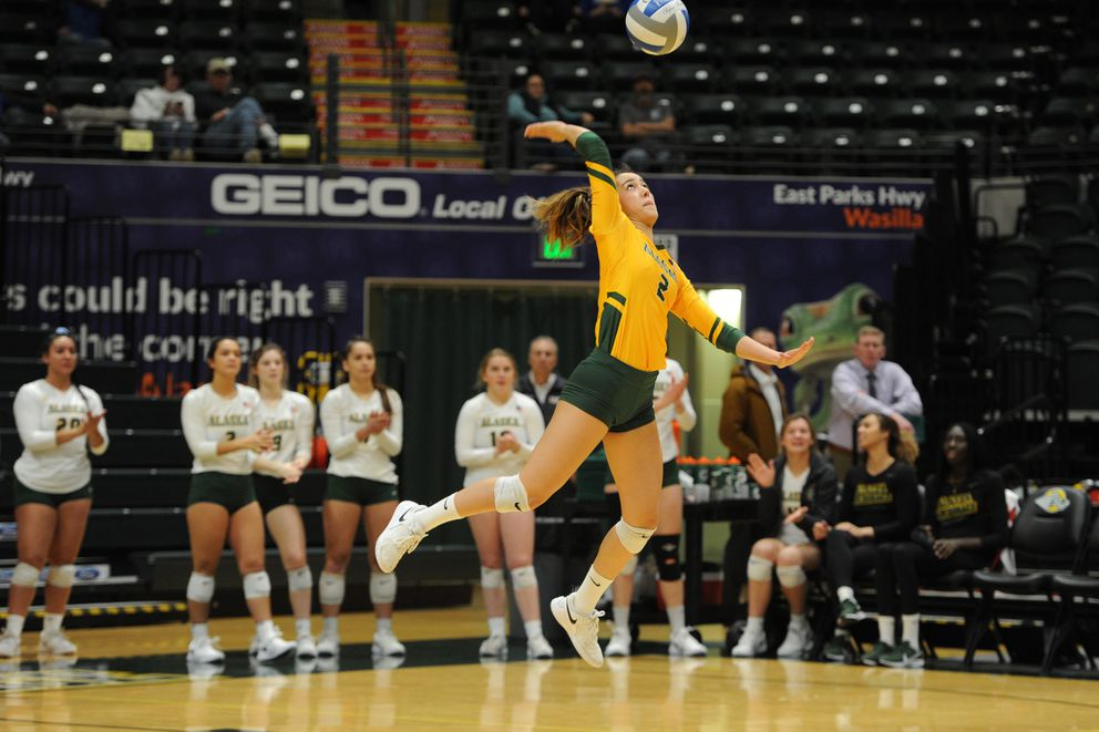 Talia Leauanae serves the ball during a sweep of Saint Martin's earlier this month at the Alaska Airlines Center. (Bill Roth / ADN)