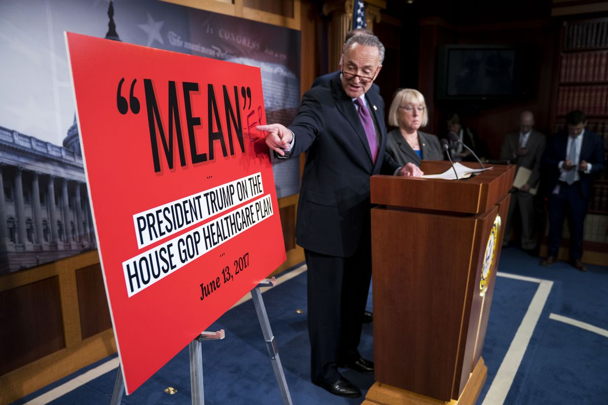 Senate Minority Leader Chuck Schumer (D-N.Y.) and Sen. Patty Murray (D-Wash.) at a news conference regarding the Senate Republicans' health care bill, on Capitol Hill in Washington, June 22, 2017. (Doug Mills/The New York Times)