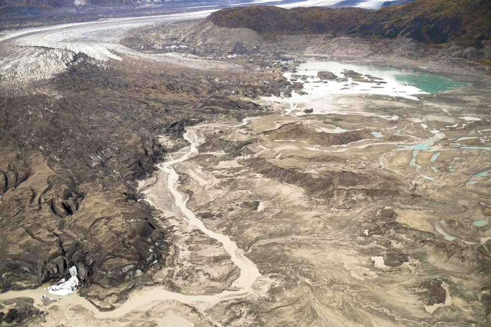 A stream runs along the toe of Kaskawulsh Glacier in Canada. (Dan Shugar)