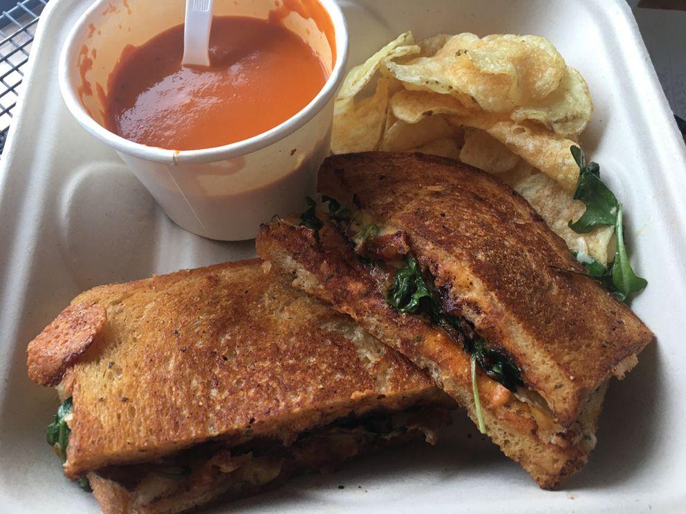 Melt's CBLT sandwich has bacon, tomato, arugula and cheese with a cream cheese spread (Photo by Mara Severin)