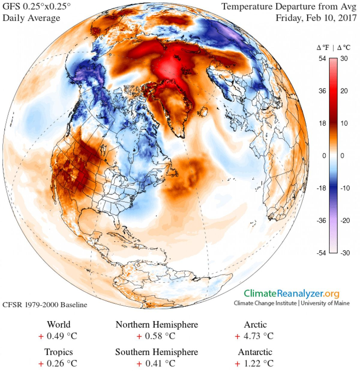 An image obtained using the Climate Reanalyzer from the Climate Change Institute at the University of Maine, shows temperature anomalies in the Arctic. (Courtesy University of Maine)