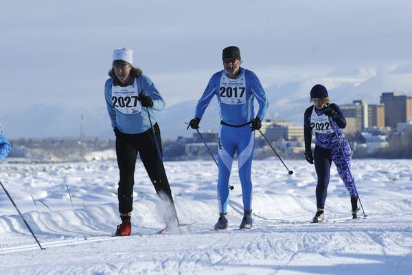 Marc Lester / Anchorage Daily News Racers head down the Tony Knowles Coastal Trail in Anchorage, Alaska, during the Tour of Anchorage on Sunday, March 4, 2012. The Tour of Anchorage consists of 25, 40 and 50-kilometer cross country ski races in classical and skate styles.