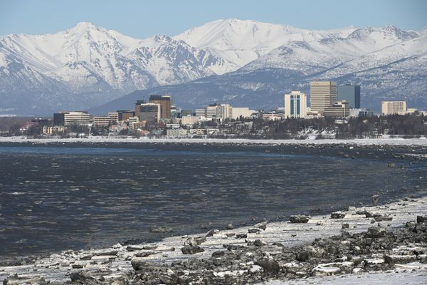 View of Anchorage skyline with white caps on the Knik Arm that were kicked up by strong north winds on Sunday, March 29, 2020. (Bill Roth / ADN)