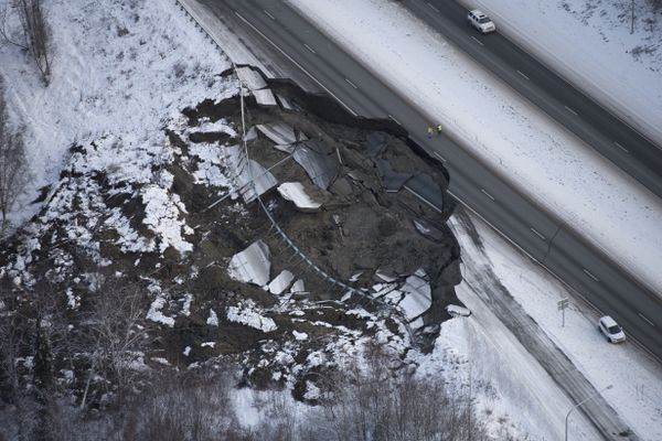 The Glenn Highway near Mirror Lake was heavily damaged in the 7.1 earthquake in Southcentral Alaska on November 30, 2018. (Marc Lester / ADN archive)