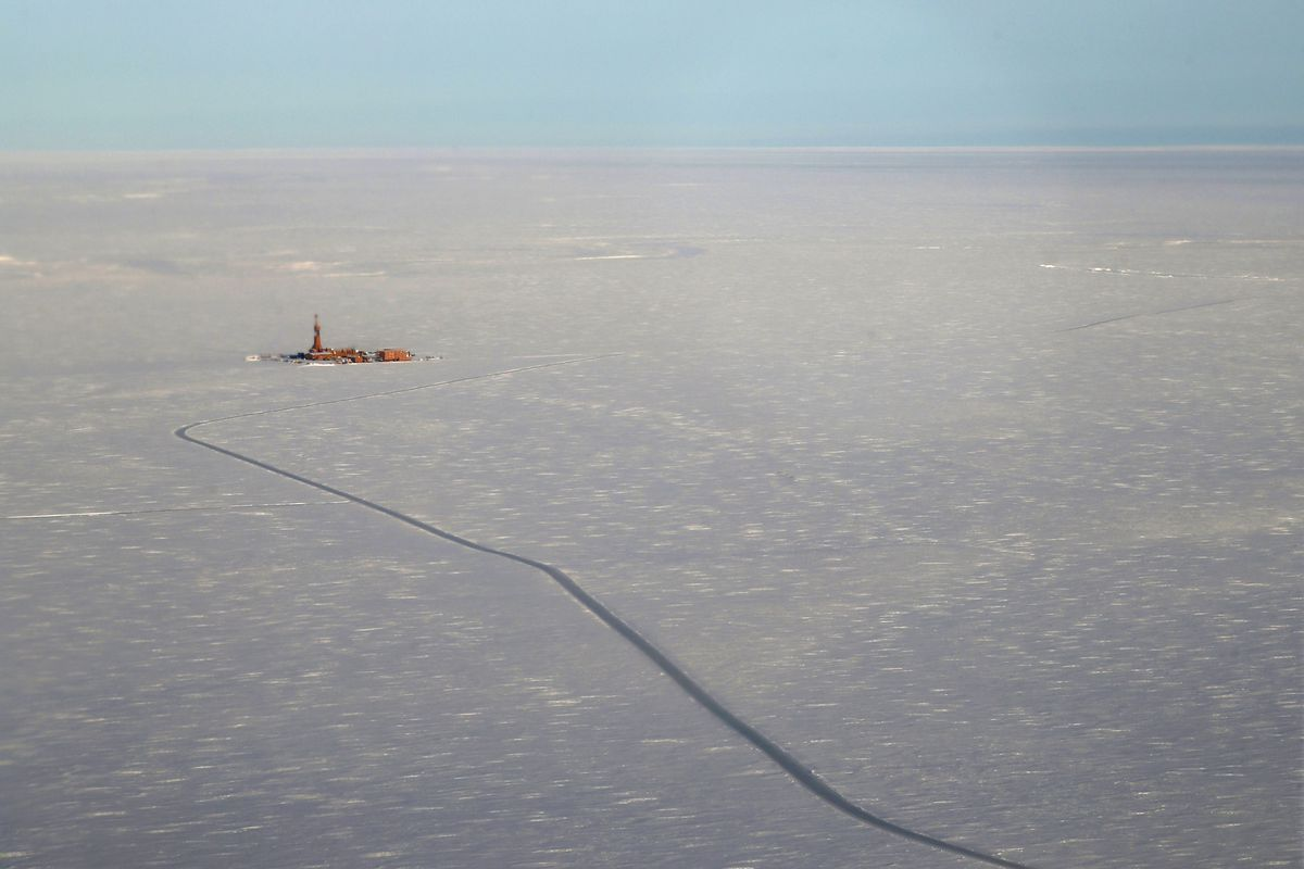 Aerial view of Tinmiaq 7, the first well drilled at ConocoPhillips' Willow prospect during the 2018 exploration season. (Judy Patrick / ConocoPhillips)