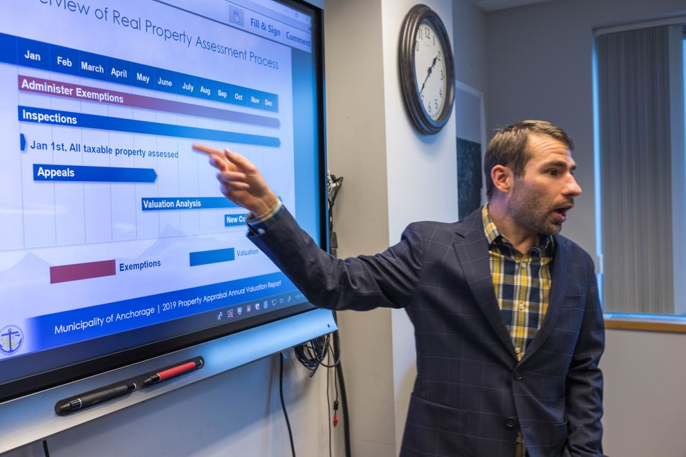 Municipal assessor Jack Gadamus points to a slide explaining the property assessment process from a presentation he prepared for the Anchorage Assembly, on Tuesday at City Hall. (Loren Holmes / ADN)