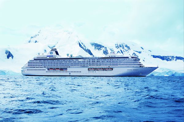 In an undated handout photo, the cruise ship Crystal Serenity sails waters off Antarctica. The ship is slated to sail the Northwest Passage in 2016 carrying nearly 1,700 passengers and crewmembers.