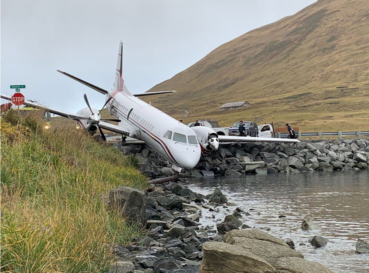 A Saab 2000 twin-engine turboprop crashed at the Unalaska airport Oct. 17, 2019, killing one passenger and injuring four others. (National Transportation Safety Board photo)