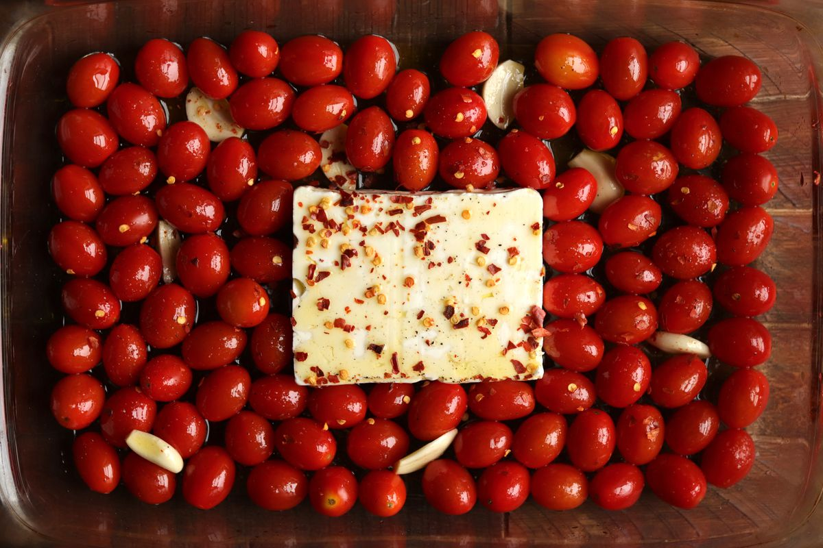 A recipe for pasta with a baked feta and tomato sauce went viral on social media. (Washington Post photo by Aaron Hutcherson)