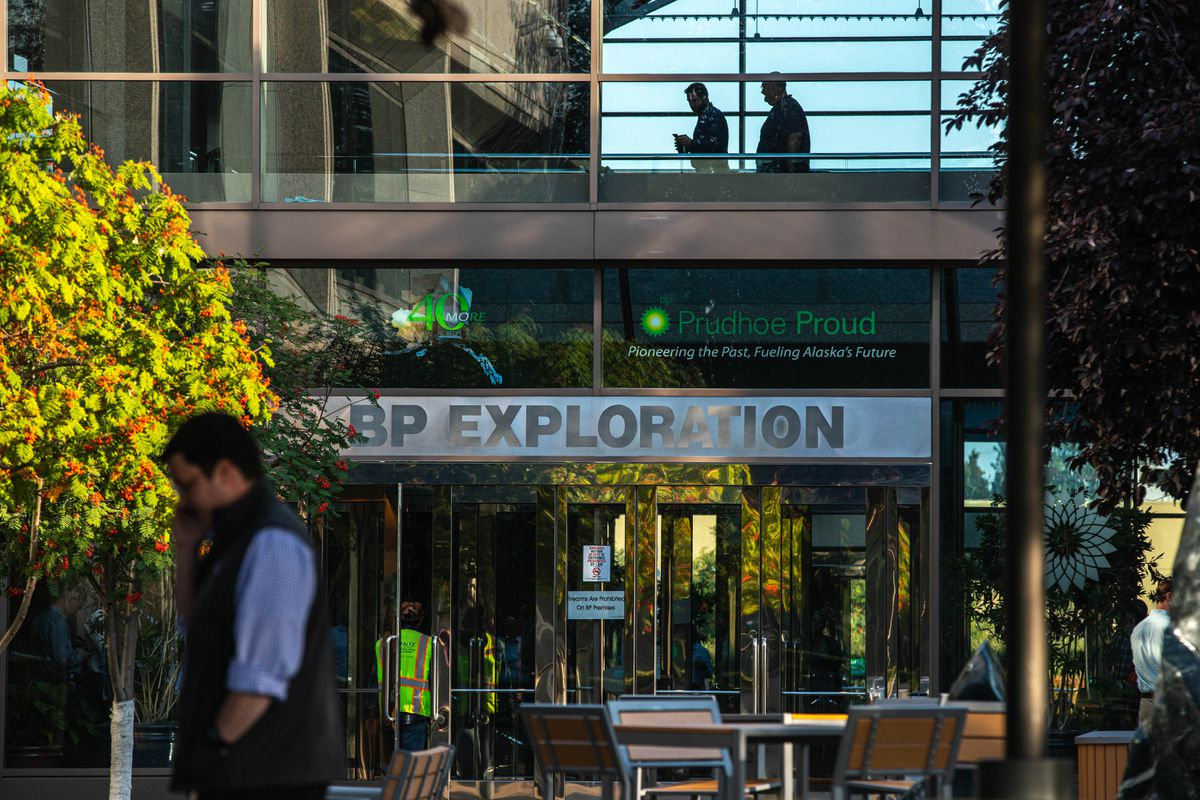 The BP building in midtown Anchorage on Tuesday, Aug. 27, 2019. BP announced Tuesday that it plans to sell all of its Alaska assets to Hilcorp Alaska for $5.6 billion. (Loren Holmes / ADN)