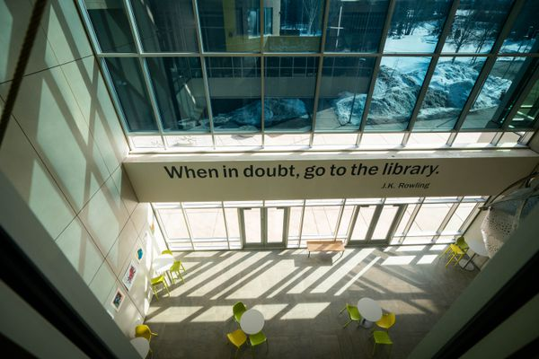 The Loussac Library lobby on Thursday, March 26, 2020. The library is closed to the public during the coronavirus emergency, but is the new home for the municipal emergency operations center. (Loren Holmes / ADN)