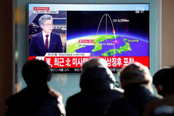 People watch a television broadcast of a news report on North Korea firing what appeared to be an intercontinental ballistic missile (ICBM) that landed close to Japan, in Seoul, South Korea, November 29, 2017. (Kim Hong-Ji / Reuters file)
