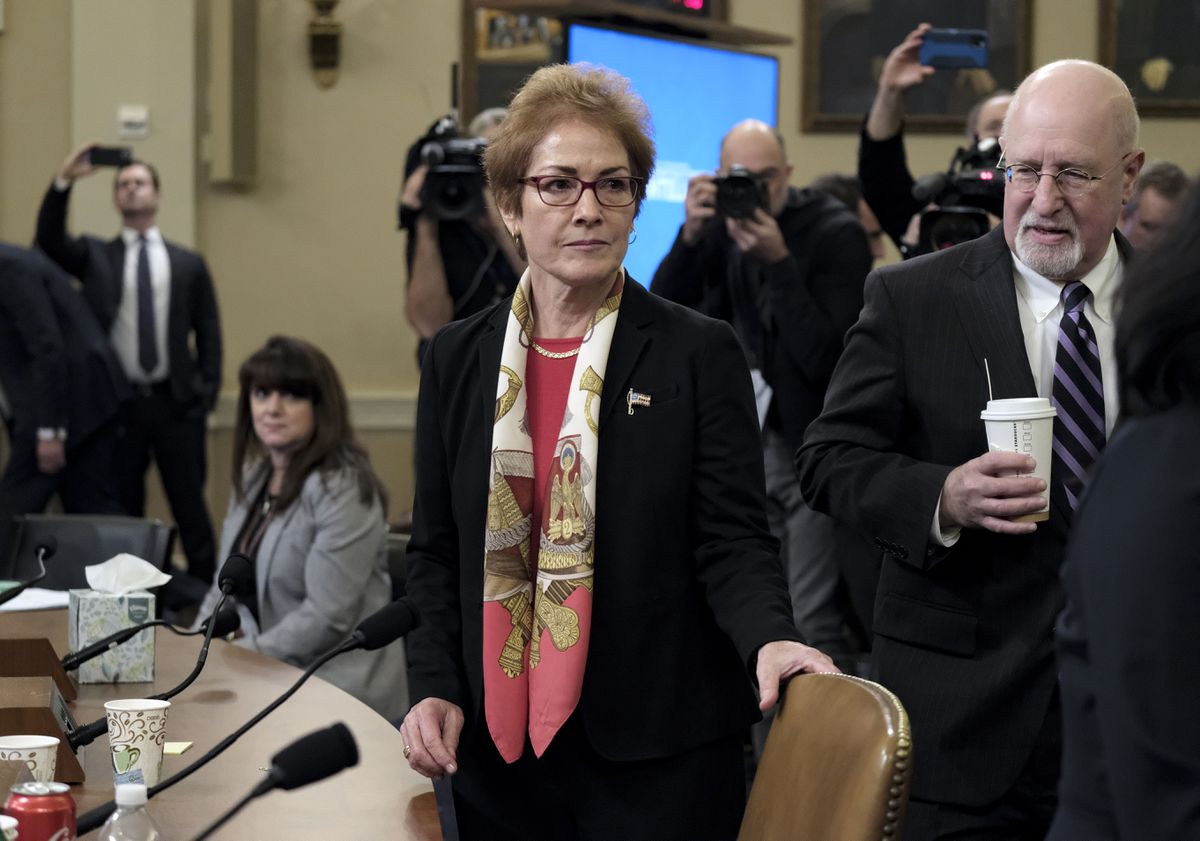 Marie Yovanovitch arrives after a break to provide testimony during the impeachment inquiry on Nov. 15. MUST CREDIT: Washington Post photo by Bonnie Jo Mount