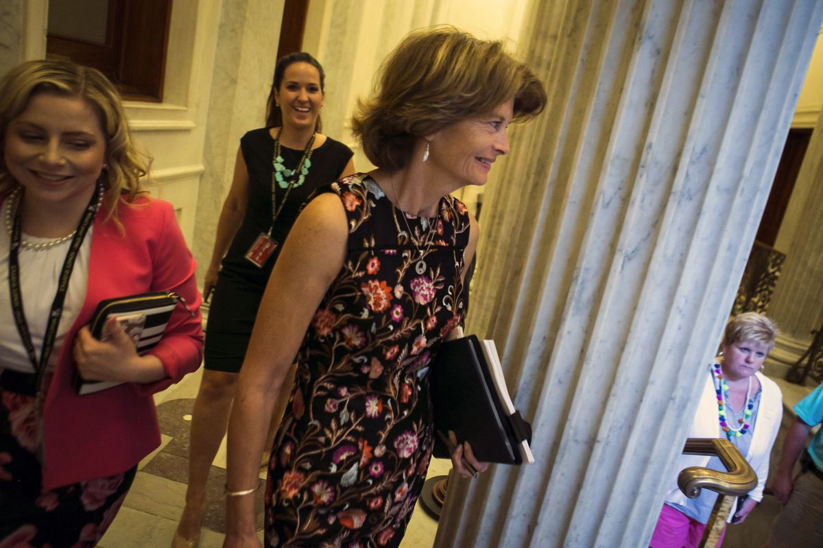 Sen. Lisa Murkowski (R-Alaska) leaves a meeting Thursday on Capitol Hill, in Washington. The Senate Republican leadership's freshly unveiled proposal to repeal and replace the Affordable Care Act was immediately imperiled Thursday when two Republican senators, moderate Susan Collins of Maine and conservative Rand Paul of Kentucky, announced they were not swayed. (Al Drago/The New York Times)