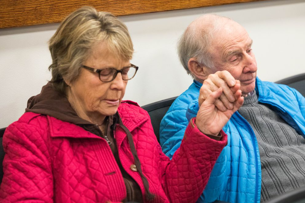 Chuck and Sally Heath attend a bail hearing for their grandson, Track Palin, in Palmer District Court on Wednesday. (Loren Holmes / ADN)
