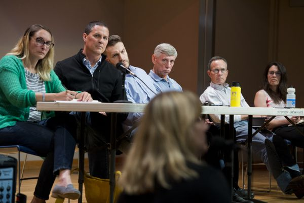 Anchorage Assembly members host a forum at the Loussac Library to take public comment on the mayor's recent emergency declaration on July 25, 2019. From left are Meg Zaletel, Kameron Perez-Verdia, Forrest Dunbar, Pete Petersen, John Weddleton and Suzanne LaFrance. (Marc Lester / ADN)
