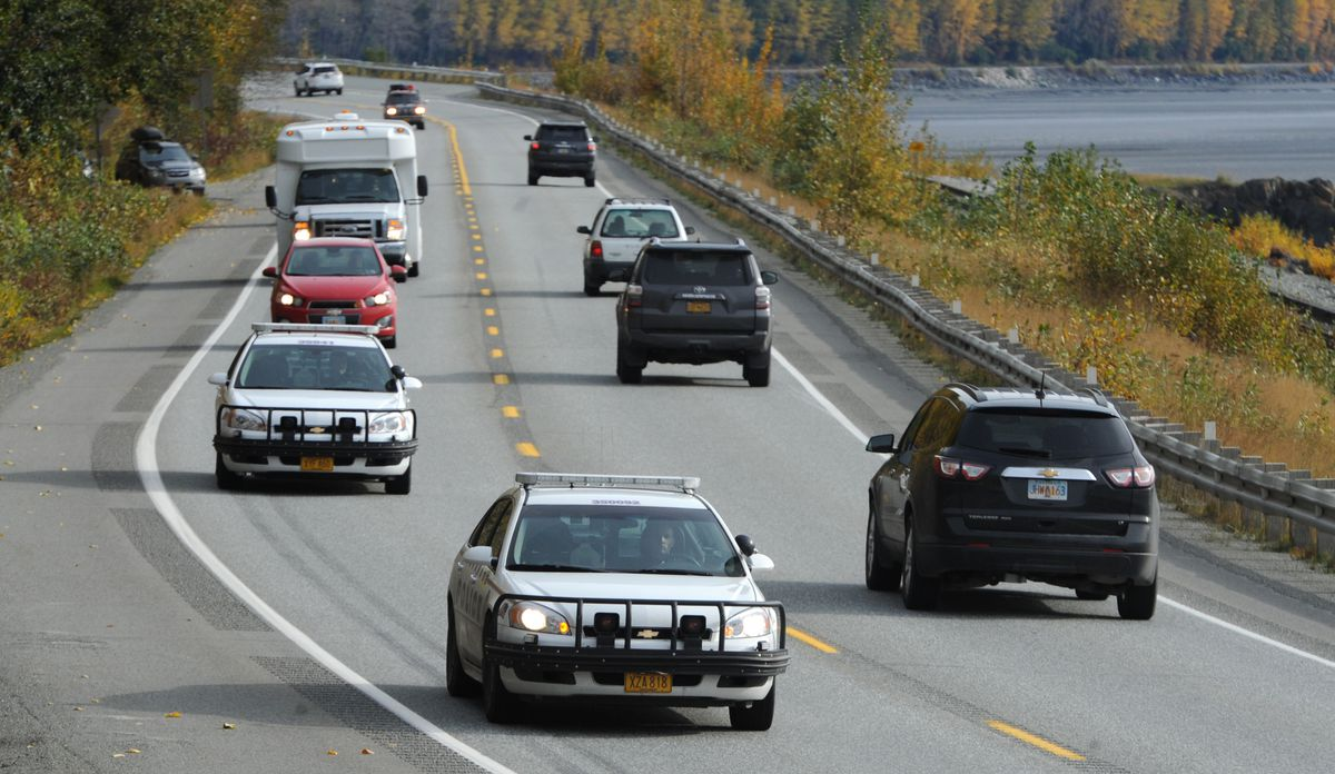 The Anchorage Police Department patrols on the Seward Highway between Potter Marsh and Mile 75 in October 2017. (Bill Roth / ADN archive)