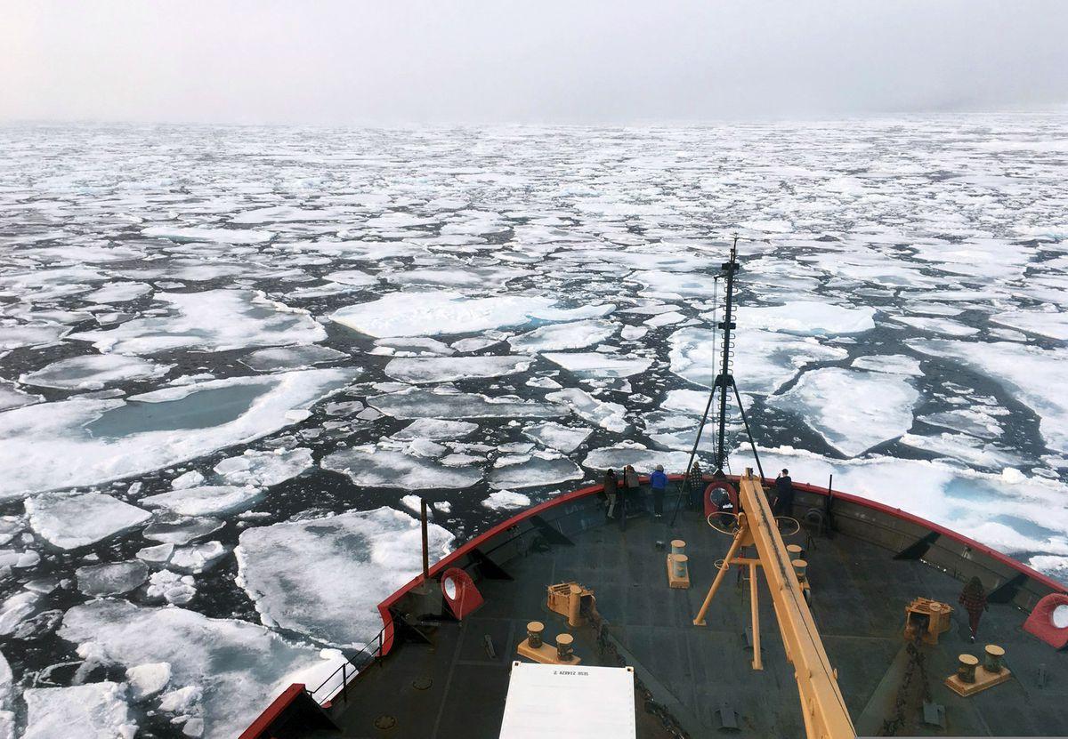 The U.S. Coast Guard Icebreaker Healy on a research cruise in the Chukchi Sea of the Arctic Ocean. (Devin Powell/NOAA via AP, File)