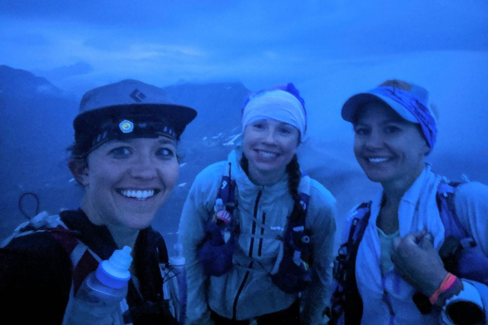 From left, Julianne Dickerson, Abby Jahn and April McAnly take a selfie as fog begins to clear on 5,445-foot Mount Williwaw at 4 a.m. on Saturday, July 20. (Photo courtesy of Julianne Dickerson)
