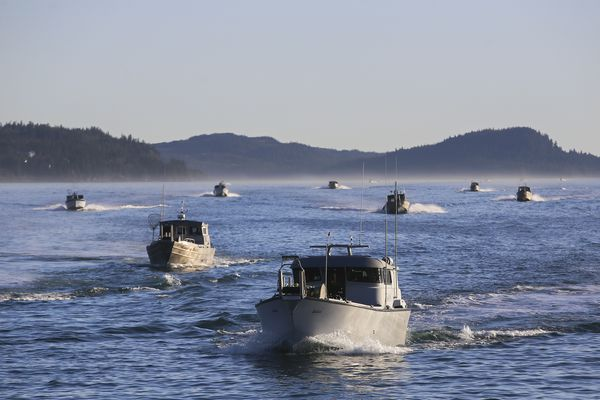 Fishermen approach the Cordova boat harbor after the first commercial opener of the season on Monday, May 17, 2021. (Emily Mesner / ADN)