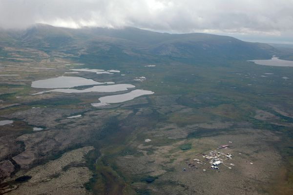 This is an aerial view of a work camp in the area of the proposed Pebble Mine in Iliamna, Alaska, seen on Tuesday, August 27, 2013. The Pebble Mine could be the largest open pit mine on the continent, with an earthen tailings dam higher than the Washington Monument to hold mine waste for hundreds to thousands of years, according to an Environmental Protection Agency analysis. (Bill Roth / ADN archive)