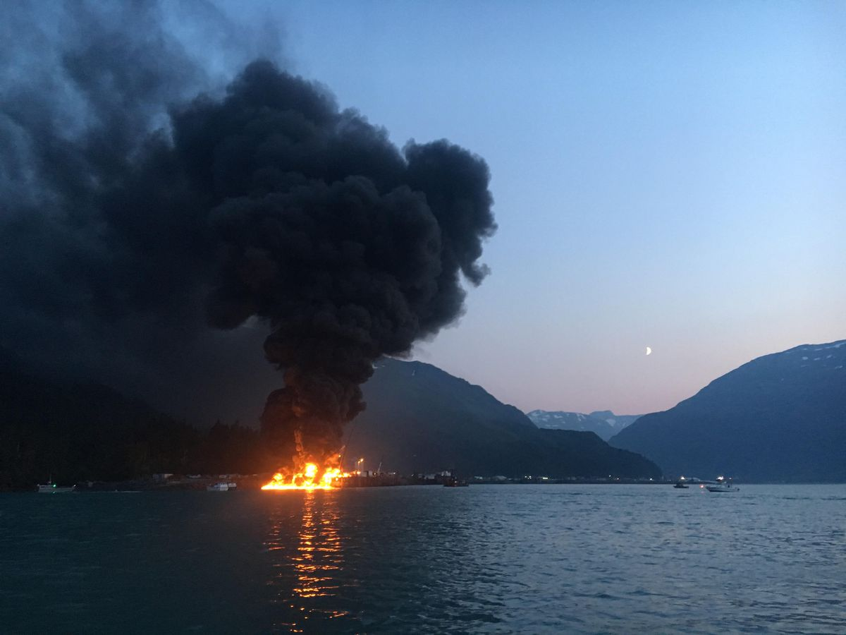 A search was underway Monday, July 8, 2019, for two people after an overnight explosion aboard a fishing vessel at a dock in Whittier in Southcentral Alaska. (Photo by Patrick McCormick)