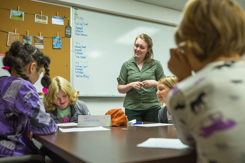 Language arts teacher Laura-Ashlee Twiford supervises class at STrEaM Academy. (Loren Holmes / Alaska Dispatch News)
