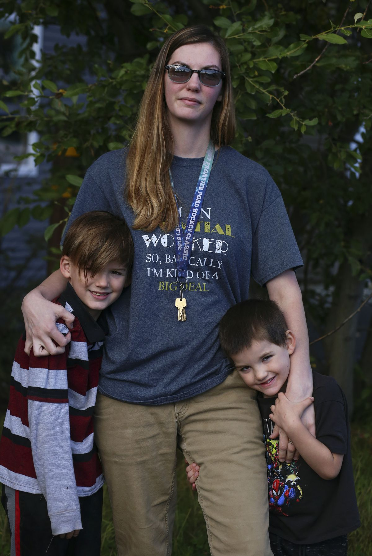 Sabrina Shoup stands with her children, Noah, 7, and Levi, 5, in Anchorage on Sept. 4, 2020. (Emily Mesner / ADN)