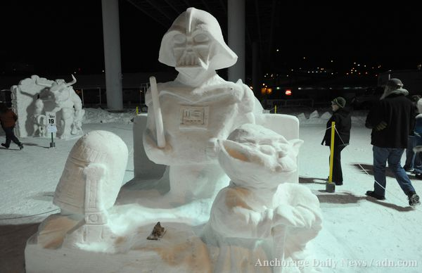 The GCI Snow Sculpture Competition, a popular Fur Rondy event, in 2013. (Bill Roth / ADN archive)