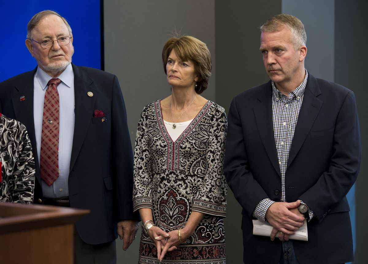 Rep. Don Young, Sen. Lisa Murkowski and Sen. Dan Sullivan in Anchorage on May 30, 2017. (Marc Lester / ADN archive)